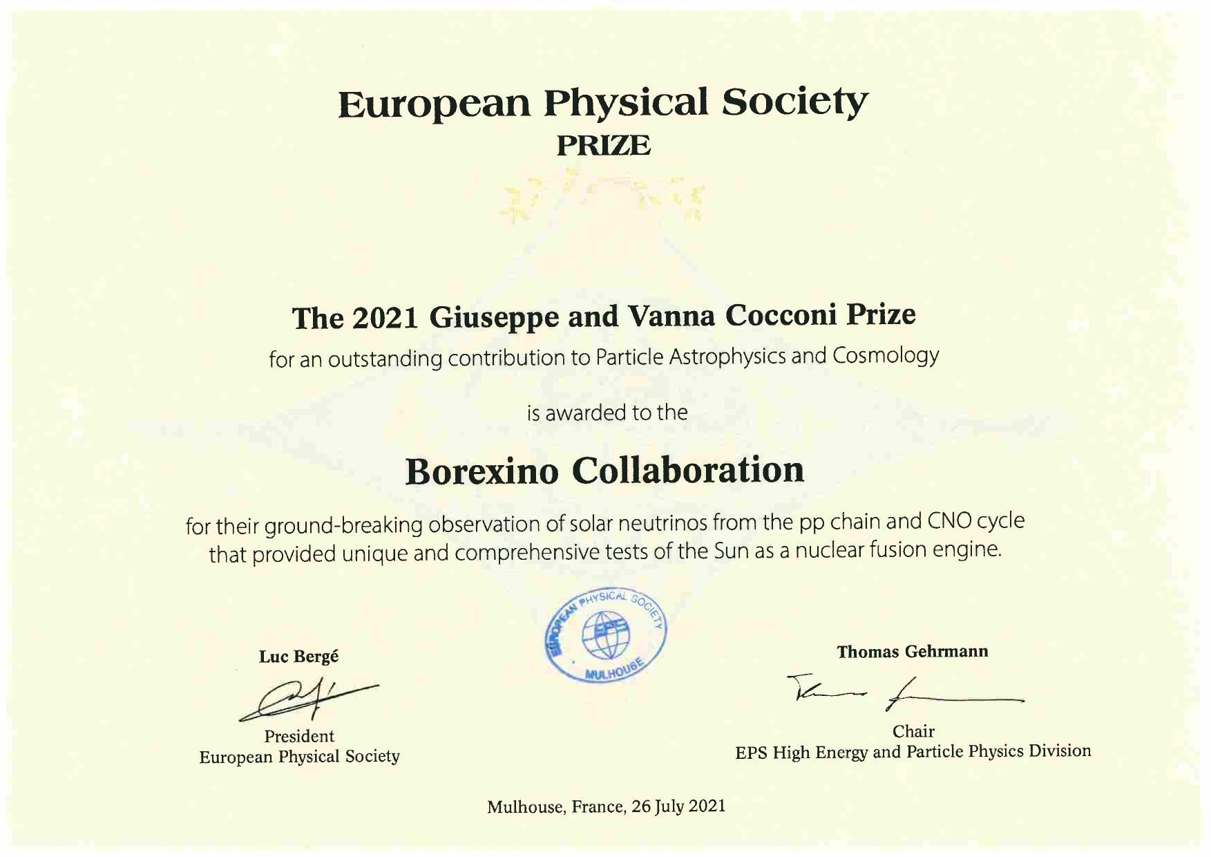 Cocconi Award certificate